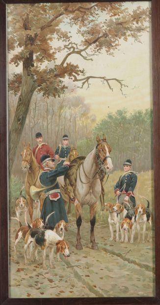 Scène de chasse à courre. Gravure en couleurs encadrée. Dim.: 58 x 29 cm