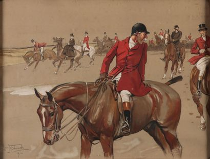 Lionel EDWARDS. The MPH / Old Mr Barleycon. Paire de gravures en couleur encadrées....