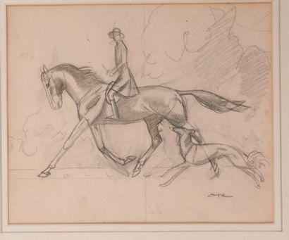 Auguste ROUBILLE (1872-1955). Cavalière et lévrier. Crayon sur papier signé en bas...