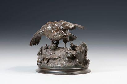 Alfred BARYE (1839-1882). Perdrix défendant ses poussins. Bronze à patine brune...