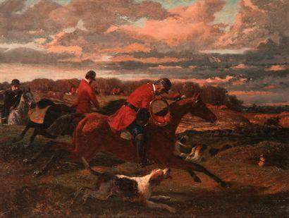 Nicolas MOREAU (c.1820-?). Equipage chassant le cerf. Huile sur toile, signé en...