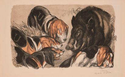 Paul JOUVE (1878-1973). Sangliers au ferme....