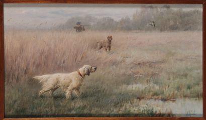 Maurice MOISAND (1863 - 1934). Chasse à la Bécassine. Huile sur toile signée en...