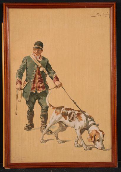 Ernest BODOY. Le valet de chien. Procédé Legras Paris. Dim.: 41 x 27 cm
