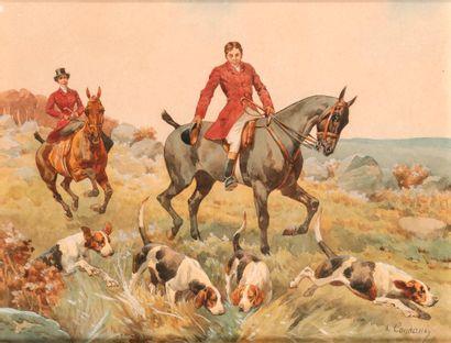 Charles de CONDAMY (c.1855-1913). Veneur, amazone et meute. Aquarelle sur papier...