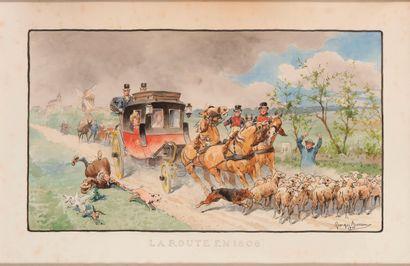 Georges BUSSON (1859-1933). La route en 1806. Aquarelle sur papier signée et datée...