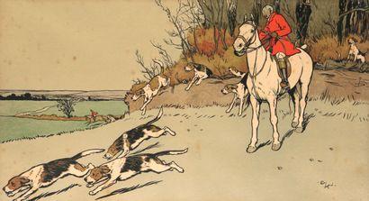 Cecil ALDIN. Scène de vènerie anglaise. Deux gravures en couleur formant paire,...