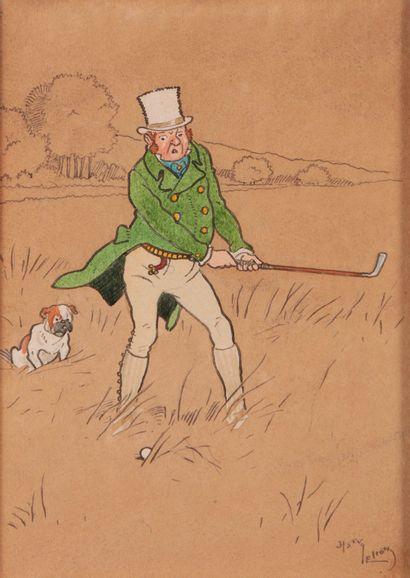 HARRY ELIOTT (1882 - 1959). Le joueur de golf. Aquarelle sur traits d'encre sur...