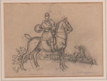 Auguste ROUBILLE (1872-1955). Vénerie du cerf – cavalier sonnant. Crayon sur papier...