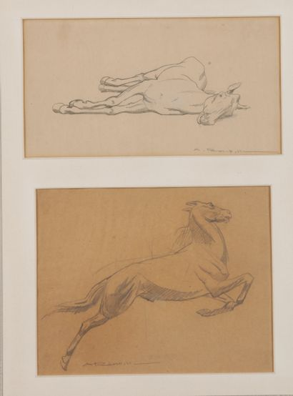 Auguste ROUBILLE (1872-1955). Etude de chevaux. Crayon sur papier signé en bas à...