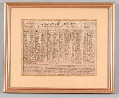 Deux almanachs, l'un de 1793 imprimé à Avignon...