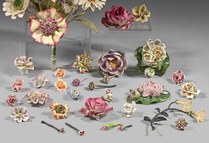 Allemagne Ensemble d'environ vingt-cinq fleurs en porcelaine traitées au naturel....