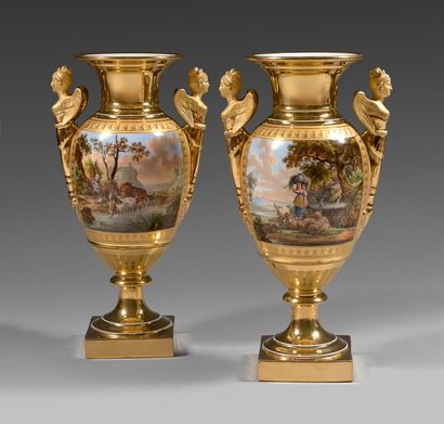 Paire de vases en porcelaine de Paris (Schoelcher) du début du XIXe siècle Marques...