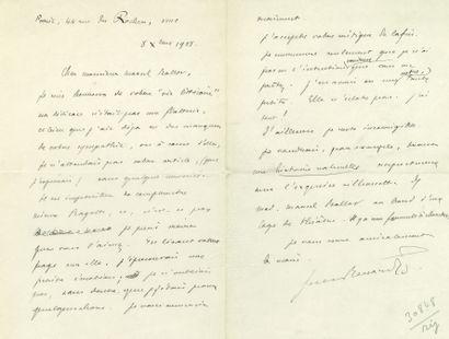 Jules renard (1864-1910). L. A. S., Paris, Dec. 8, 1908, to Marcel Ballot, 2 pp....