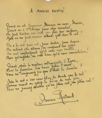 Maurice ROSTAND (1891-1968). Autograph poem signed, To Marise Bastié; 1 page in-4°...
