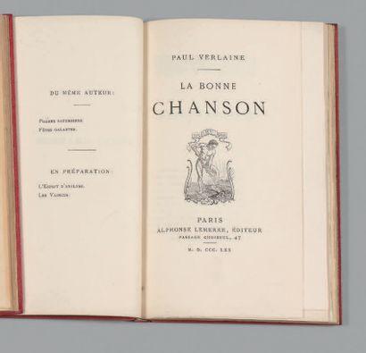 VERLAINE (Paul). La Bonne chanson. Paris, Alphonse Lemerre, Éditeur, 1870. In-12,...