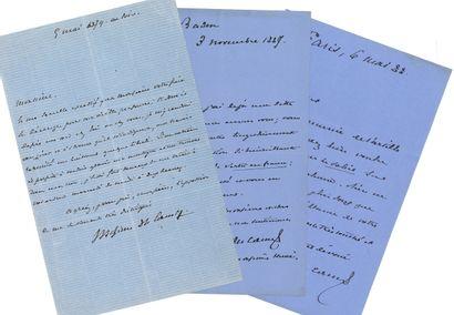 Maxime Du CAMP (1822-1894), écrivain et voyageur, ami de Flaubert. 3 L. A. S., 1879-1888,...