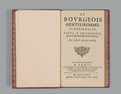 MOLIERE. Le Bourgeois gentilhomme, comedie-balet, faite a Chambort pour le divertissement...