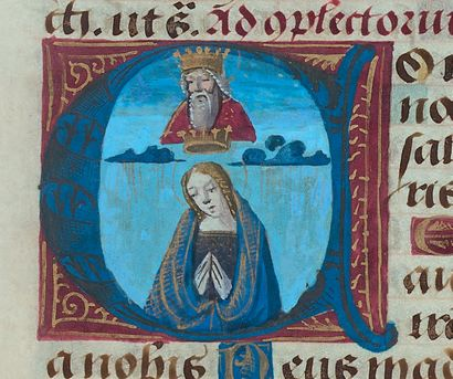 [ILLUMINATED MANUSCRIPT HOURS]. Late 15th century (circa 1480?) manuscript book...