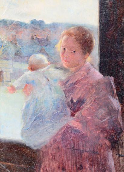 Ferdinand Loyen du PUIGAUDEAU (1864-1930) Madame du Puigaudeau tenant sa fille dans...