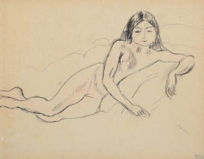 Jules PINCAS dit PASCIN (1885-1930) Jeune modèle, Paris 1912 Dessin au crayon noir,...