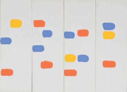 Albert CHUBAC (1925-2008) Sans titre Deux gouaches en quatre éléments. 44,5 x 60...