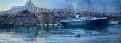 Augustin CARRERA (1878-1952) Marseille le port Huile sur panneau, signée en bas à...