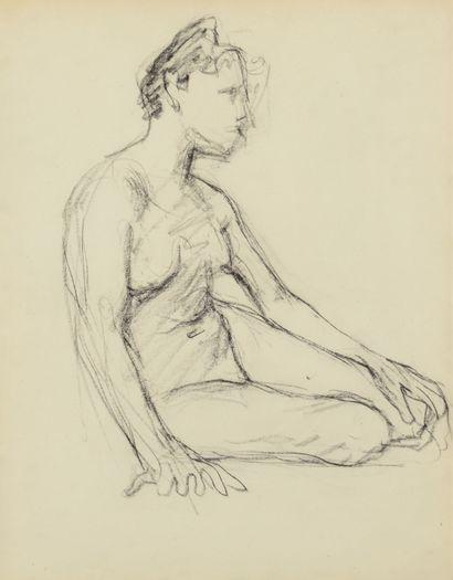 Albert Marquet (1875-1947) Modèle nu assis tourné vers la droite Dessin double face...