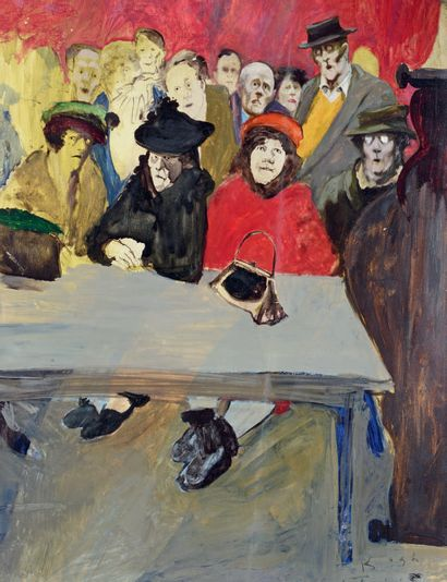 TOM KEOGH (1921-1980) The auction room Oil on panel, signed lower right. 61 x 50...