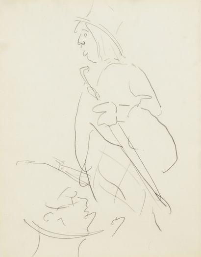 Albert Marquet (1875-1947) Homme au parapluie Dessin double face au crayon noir....
