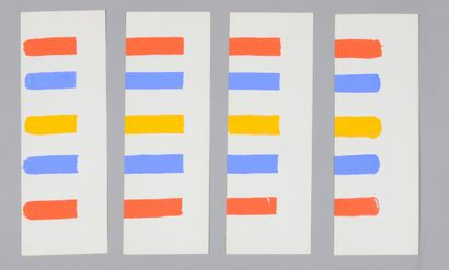 Albert CHUBAC (1925-2008) Untitled Two gouaches in four parts. 44.5 x 60 cm each
