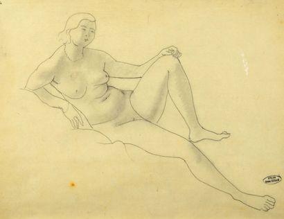 André DERAIN (1880-1954) Femme nue allongée Dessin au crayon noir et à l'estompe,...
