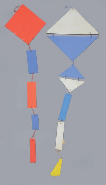 Albert CHUBAC (1925-2008) Untitled blue and red - Untitled white, blue, yellow Two...