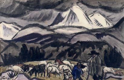 Jules Emile ZINGG (1882-1942) Le berger en montagne Gouache, signée en bas à gauche....