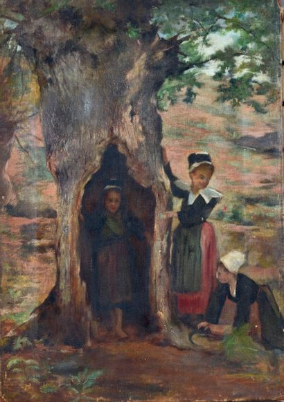 ÉCOLE BRETONNE de la fin du XIXe siècle Breton Hide and Seek Oil on canvas. 54 x...