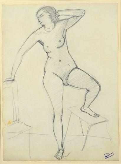 André DERAIN (1880-1954) Raymonde dans l'atelier au tabouret Dessin au crayon noir...