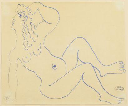 André DERAIN (1880-1954) Nu assis aux cheveux ondulés Dessin à l'encre sur papier...