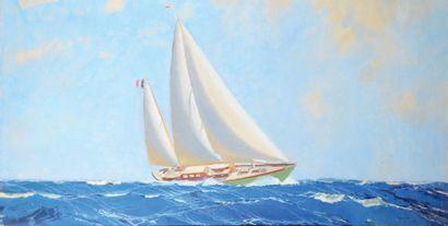 MARIN MARIE (1901-1987) Classe J en mer, le Kriss Gouache, signée en bas à droite....