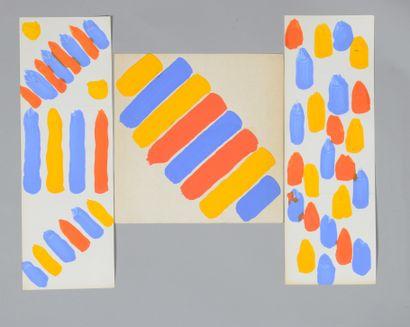 Albert CHUBAC (1925-2008) Sans titre Trois gouaches. 5 x 44,5 cm (2) et 28 x 28 ...