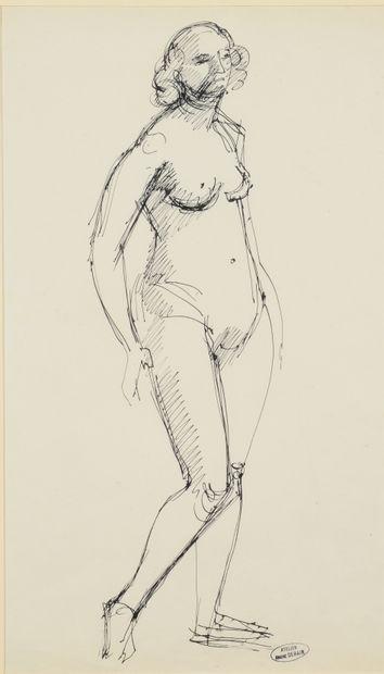 André DERAIN (1880-1954) Raymonde nue debout de trois quart à droite Dessin à l'encre,...