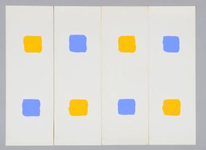 Albert CHUBAC (1925-2008) Sans titre Deux gouaches en quatre éléments. 60 x 44,5...