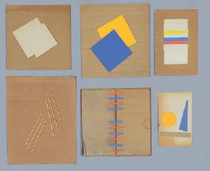Albert CHUBAC (1925-2008) Sans titre Six collages sur carton ondulé. Entre 36 x 28,5...