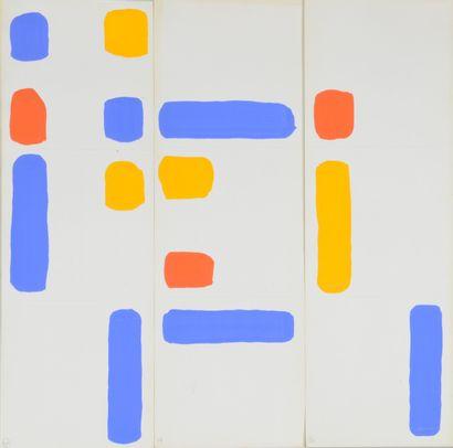 Albert CHUBAC (1925-2008) Sans titre Quatre gouaches en trois éléments. 44,5 x 44,5...