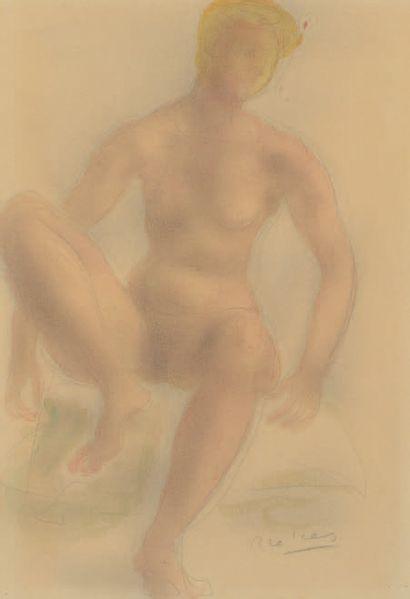 Arno BRECKER (1900-1991) Modèle blond nu assis Aquarelle sur traits de crayon, signée...