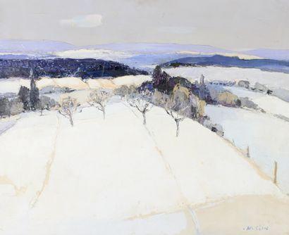 Joseph Muslin (1911-2003) Jura sundgauvien en hiver Huile sur toile, signée en bas...