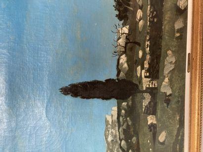 Roland OUDOT (1897-1981) Cyprès à Fontvielle Huile sur toile, signée en bas à gauche....