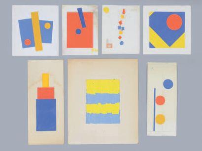 Albert CHUBAC (1925-2008) Sans titre Sept collages, cartons. Entre 35 x 29 cm et...