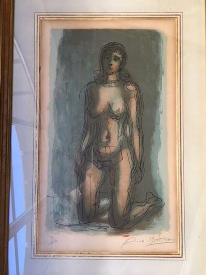 Arno BRECKER (1900-1991) Nu féminin agenouillé Lithographie en couleurs, signée et...