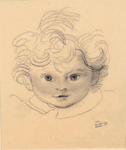 André DERAIN (1880-1954) Portrait de Boby au collier Dessin au crayon noir et à l'estompe,...