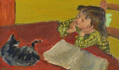 Simon SIMON-AUGUSTE (1909-1987) Petit fille au chat Huile sur panneau, signée en...